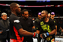 ATLANTA, GA - APRIL 21:  Jon Jones (L) shakes hands wiith Rashad Evans after defeating him by unanimous decision in their light heavyweight title bout for UFC 145 at Philips Arena on April 21, 2012 in Atlanta, Georgia.  (Photo by Al Bello/Zuffa LLC/Zuffa LLC via Getty Images)