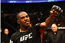 ATLANTA, GA - APRIL 21:  Jon Jones celebrates defeating Rashad Evans by unanimous decision in their light heavyweight title bout for UFC 145 at Philips Arena on April 21, 2012 in Atlanta, Georgia.  (Photo by Al Bello/Zuffa LLC/Zuffa LLC via Getty Images) *** Local Caption *** Jon Jones