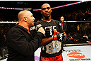 ATLANTA, GA - APRIL 21:  Jon Jones is interviewed after defeating Rashad Evans by unanimous decision in their light heavyweight title bout for UFC 145 at Philips Arena on April 21, 2012 in Atlanta, Georgia.  (Photo by Al Bello/Zuffa LLC/Zuffa LLC via Getty Images)