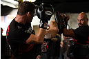 TORONTO, CANADA - SEPTEMBER 19:   Michael Bisping works out for fans and media during the UFC 152 open workouts at Xtreme Couture Gym on September 19, 2012 in Toronto, Ontario, Canada.  (Photo by Josh Hedges/Zuffa LLC/Zuffa LLC via Getty Images)