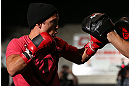 TORONTO, CANADA - SEPTEMBER 19:   Joseph Benavidez works out for fans and media during the UFC 152 open workouts at Xtreme Couture Gym on September 19, 2012 in Toronto, Ontario, Canada.  (Photo by Josh Hedges/Zuffa LLC/Zuffa LLC via Getty Images)