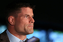 TORONTO, CANADA - SEPTEMBER 20: Brian Stann interacts with media during the UFC 152 pre-fight press conference at Real Sports Bar and Grill on September 20, 2012 in Toronto, Ontario, Canada. (Photo by Josh Hedges/Zuffa LLC/Zuffa LLC via Getty Images)