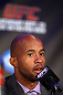 TORONTO, CANADA - SEPTEMBER 20: Demetrious Johnson interacts with media during the UFC 152 pre-fight press conference at Real Sports Bar and Grill on September 20, 2012 in Toronto, Ontario, Canada. (Photo by Josh Hedges/Zuffa LLC/Zuffa LLC via Getty Images)
