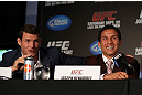 TORONTO, CANADA - SEPTEMBER 20: (L-R) Michael Bisping and Joseph Benavidez interact with media during the UFC 152 pre-fight press conference at Real Sports Bar and Grill on September 20, 2012 in Toronto, Ontario, Canada. (Photo by Josh Hedges/Zuffa LLC/Zuffa LLC via Getty Images)