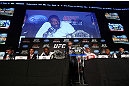TORONTO, CANADA - SEPTEMBER 20: Jon ''Bones'' Jones interacts with media during the UFC 152 pre-fight press conference at Real Sports Bar and Grill on September 20, 2012 in Toronto, Ontario, Canada. (Photo by Josh Hedges/Zuffa LLC/Zuffa LLC via Getty Images)