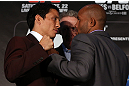 TORONTO, CANADA - SEPTEMBER 20: (L-R) Opponents Joseph Benavidez and Demetrious Johnson face off during the UFC 152 pre-fight press conference at Real Sports Bar and Grill on September 20, 2012 in Toronto, Ontario, Canada. (Photo by Josh Hedges/Zuffa LLC/Zuffa LLC via Getty Images)