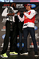 TORONTO, CANADA - SEPTEMBER 20: (L-R) Opponents Jon ''Bones'' Jones and Vitor Belfort face off during the UFC 152 pre-fight press conference at Real Sports Bar and Grill on September 20, 2012 in Toronto, Ontario, Canada. (Photo by Josh Hedges/Zuffa LLC/Zuffa LLC via Getty Images)