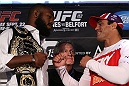 "TORONTO, CANADA - SEPTEMBER 20: (L-R) Opponents Jon ""Bones"" Jones and Vitor Belfort face off during the UFC 152 pre-fight press conference at Real Sports Bar and Grill on September 20, 2012 in Toronto, Ontario, Canada. (Photo by Josh Hedges/Zuffa LLC/Zuffa LLC via Getty Images)"