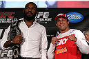 "TORONTO, CANADA - SEPTEMBER 20: (L-R) Opponents Jon ""Bones"" Jones and Vitor Belfort pose for photos during the UFC 152 pre-fight press conference at Real Sports Bar and Grill on September 20, 2012 in Toronto, Ontario, Canada. (Photo by Josh Hedges/Zuffa LLC/Zuffa LLC via Getty Images)"