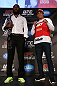 TORONTO, CANADA - SEPTEMBER 20: (L-R) Opponents Jon ''Bones'' Jones and Vitor Belfort pose for photos during the UFC 152 pre-fight press conference at Real Sports Bar and Grill on September 20, 2012 in Toronto, Ontario, Canada. (Photo by Josh Hedges/Zuffa LLC/Zuffa LLC via Getty Images)