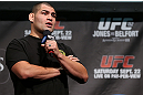 TORONTO, CANADA - SEPTEMBER 21:   Cain Velasquez interacts with fans during a Q&amp;A session before the UFC 152 weigh in at Mattamy Athletic Centre at the Gardens on September 21, 2012 in Toronto, Ontario, Canada.  (Photo by Josh Hedges/Zuffa LLC/Zuffa LLC via Getty Images)