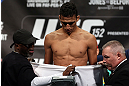 TORONTO, CANADA - SEPTEMBER 21: Charles Oliveira weighs in during the UFC 152 weigh in at Mattamy Athletic Centre at the Gardens on September 21, 2012 in Toronto, Ontario, Canada. (Photo by Josh Hedges/Zuffa LLC/Zuffa LLC via Getty Images)