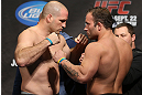 TORONTO, CANADA - SEPTEMBER 21: (L-R) Opponents Matt Hamill and Roger Hollett face off during the UFC 152 weigh in at Mattamy Athletic Centre at the Gardens on September 21, 2012 in Toronto, Ontario, Canada. (Photo by Josh Hedges/Zuffa LLC/Zuffa LLC via Getty Images)