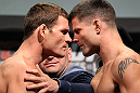 TORONTO, CANADA - SEPTEMBER 21: (L-R) Opponents Michael Bisping and Brian Stann face off during the UFC 152 weigh in at Mattamy Athletic Centre at the Gardens on September 21, 2012 in Toronto, Ontario, Canada. (Photo by Mike Roach/Zuffa LLC/Zuffa LLC via Getty Images)