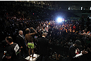 TORONTO, CANADA - SEPTEMBER 21:    Demetrious Johnson weighs in during the UFC 152 weigh in at Mattamy Athletic Centre at the Gardens on September 21, 2012 in Toronto, Ontario, Canada.  (Photo by Josh Hedges/Zuffa LLC/Zuffa LLC via Getty Images)