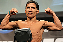 TORONTO, CANADA - SEPTEMBER 21: Joseph Benavidez weighs in during the UFC 152 weigh in at Mattamy Athletic Centre at the Gardens on September 21, 2012 in Toronto, Ontario, Canada. (Photo by Mike Roach/Zuffa LLC/Zuffa LLC via Getty Images)