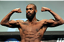 TORONTO, CANADA - SEPTEMBER 21: Jon ''Bones'' Jones weighs in during the UFC 152 weigh in at Mattamy Athletic Centre at the Gardens on September 21, 2012 in Toronto, Ontario, Canada. (Photo by Mike Roach/Zuffa LLC/Zuffa LLC via Getty Images)