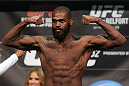 "TORONTO, CANADA - SEPTEMBER 21: Jon ""Bones"" Jones weighs in during the UFC 152 weigh in at Mattamy Athletic Centre at the Gardens on September 21, 2012 in Toronto, Ontario, Canada. (Photo by Josh Hedges/Zuffa LLC/Zuffa LLC via Getty Images)"
