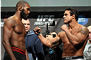 TORONTO, CANADA - SEPTEMBER 21: (L-R) Opponents Jon ''Bones'' Jones and Vitor Belfort face off during the UFC 152 weigh in at Mattamy Athletic Centre at the Gardens on September 21, 2012 in Toronto, Ontario, Canada. (Photo by Mike Roach/Zuffa LLC/Zuffa LLC via Getty Images)
