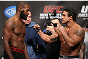 "TORONTO, CANADA - SEPTEMBER 21: (L-R) Opponents Jon ""Bones"" Jones and Vitor Belfort face off during the UFC 152 weigh in at Mattamy Athletic Centre at the Gardens on September 21, 2012 in Toronto, Ontario, Canada. (Photo by Josh Hedges/Zuffa LLC/Zuffa LLC via Getty Images)"
