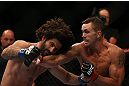 TORONTO, CANADA - SEPTEMBER 22: (R-L) Kyle Noke knocks out Charlie Brenneman with a punch during their welterweight bout at UFC 152 inside Air Canada Centre on September 22, 2012 in Toronto, Ontario, Canada. (Photo by Josh Hedges/Zuffa LLC/Zuffa LLC via Getty Images)