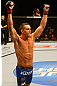 TORONTO, CANADA - SEPTEMBER 22:    Kyle Noke reacts after knockout out Charlie Brenneman during their welterweight bout at UFC 152 inside Air Canada Centre on September 22, 2012 in Toronto, Ontario, Canada.  (Photo by Al Bello/Zuffa LLC/Zuffa LLC via Getty Images)