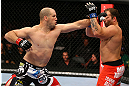 TORONTO, CANADA - SEPTEMBER 22: (L-R) Matt Hamill punches Roger Hollett during their light heavyweight bout at UFC 152 inside Air Canada Centre on September 22, 2012 in Toronto, Ontario, Canada. (Photo by Al Bello/Zuffa LLC/Zuffa LLC via Getty Images)