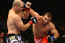 TORONTO, CANADA - SEPTEMBER 22: (R-L) Roger Hollett punches Matt Hamill during their light heavyweight bout at UFC 152 inside Air Canada Centre on September 22, 2012 in Toronto, Ontario, Canada. (Photo by Al Bello/Zuffa LLC/Zuffa LLC via Getty Images)