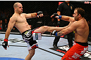 TORONTO, CANADA - SEPTEMBER 22: (L-R) Matt Hamill kicks Roger Hollett during their light heavyweight bout at UFC 152 inside Air Canada Centre on September 22, 2012 in Toronto, Ontario, Canada. (Photo by Al Bello/Zuffa LLC/Zuffa LLC via Getty Images)