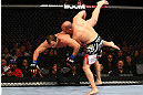 TORONTO, CANADA - SEPTEMBER 22: (R-L) Matt Hamill takes down Roger Hollett during their light heavyweight bout at UFC 152 inside Air Canada Centre on September 22, 2012 in Toronto, Ontario, Canada. (Photo by Al Bello/Zuffa LLC/Zuffa LLC via Getty Images)