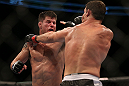 TORONTO, CANADA - SEPTEMBER 22: (L-R) Brian Stann punches Michael Bisping during their middleweight bout at UFC 152 inside Air Canada Centre on September 22, 2012 in Toronto, Ontario, Canada. (Photo by Josh Hedges/Zuffa LLC/Zuffa LLC via Getty Images)