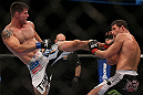 TORONTO, CANADA - SEPTEMBER 22: (L-R) Brian Stann kicks Michael Bisping during their middleweight bout at UFC 152 inside Air Canada Centre on September 22, 2012 in Toronto, Ontario, Canada. (Photo by Josh Hedges/Zuffa LLC/Zuffa LLC via Getty Images)