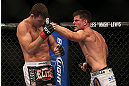 TORONTO, CANADA - SEPTEMBER 22: (R-L) Brian Stann punches Michael Bisping during their middleweight bout at UFC 152 inside Air Canada Centre on September 22, 2012 in Toronto, Ontario, Canada. (Photo by Josh Hedges/Zuffa LLC/Zuffa LLC via Getty Images)