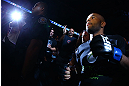 TORONTO, CANADA - SEPTEMBER 22: Demetrious Johnson enters the arena before his flyweight championship bout against Joseph Benavidez at UFC 152 inside Air Canada Centre on September 22, 2012 in Toronto, Ontario, Canada. (Photo by Al Bello/Zuffa LLC/Zuffa LLC via Getty Images)
