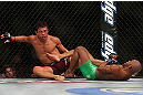 TORONTO, CANADA - SEPTEMBER 22:    (R-L) Demetrious Johnson attempts a leg lock submission against Joseph Benavidez during their flyweight championship bout at UFC 152 inside Air Canada Centre on September 22, 2012 in Toronto, Ontario, Canada.  (Photo by Josh Hedges/Zuffa LLC/Zuffa LLC via Getty Images)