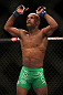 TORONTO, CANADA - SEPTEMBER 22:    Demetrious Johnson reacts after his flyweight championship bout against Joseph Benavidez at UFC 152 inside Air Canada Centre on September 22, 2012 in Toronto, Ontario, Canada.  (Photo by Josh Hedges/Zuffa LLC/Zuffa LLC via Getty Images)