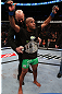 TORONTO, CANADA - SEPTEMBER 22: Demetrious Johnson reacts after defeating Joseph Benavidez during their flyweight championship bout at UFC 152 inside Air Canada Centre on September 22, 2012 in Toronto, Ontario, Canada. (Photo by Josh Hedges/Zuffa LLC/Zuffa LLC via Getty Images)