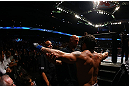 TORONTO, CANADA - SEPTEMBER 22: Vitor Belfort enters the arena before his light heavyweight championship bout against Jon ''Bones'' Jones at UFC 152 inside Air Canada Centre on September 22, 2012 in Toronto, Ontario, Canada. (Photo by Al Bello/Zuffa LLC/Zuffa LLC via Getty Images)
