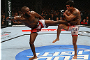 TORONTO, CANADA - SEPTEMBER 22: (L-R) Jon Jones kicks Vitor Belfort during their light heavyweight championship bout at UFC 152 inside Air Canada Centre on September 22, 2012 in Toronto, Ontario, Canada. (Photo by Al Bello/Zuffa LLC/Zuffa LLC via Getty Images)