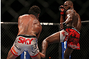 TORONTO, CANADA - SEPTEMBER 22: (R-L) Jon Jones kicks Vitor Belfort during their light heavyweight championship bout at UFC 152 inside Air Canada Centre on September 22, 2012 in Toronto, Ontario, Canada. (Photo by Josh Hedges/Zuffa LLC/Zuffa LLC via Getty Images)