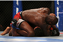 TORONTO, CANADA - SEPTEMBER 22: Jon Jones (top) defeats Vitor Belfort with an Americana submission during their light heavyweight championship bout at UFC 152 inside Air Canada Centre on September 22, 2012. (Photo by Josh Hedges/Zuffa LLC/Zuffa LLC via Getty Images)