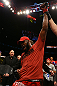 TORONTO, CANADA - SEPTEMBER 22: Jon Jones reacts after defeating Vitor Belfort during their light heavyweight championship bout at UFC 152 inside Air Canada Centre on September 22, 2012 in Toronto, Ontario, Canada. (Photo by Al Bello/Zuffa LLC/Zuffa LLC via Getty Images)