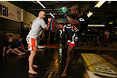 NOTTINGHAM, ENGLAND - SEPTEMBER 26:    Jimi Manuwa works out for the media during an open workout session at Gym Combat on September 26, 2012 in Nottingham, England.  (Photo by Josh Hedges/Zuffa LLC/Zuffa LLC via Getty Images)