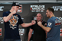 NOTTINGHAM, ENGLAND - SEPTEMBER 27:  (L-R) Opponents Stefan Struve and Stipe Miocic face off during a UFC press conference at the Hilton Hotel on September 27, 2012 in Nottingham, England.  (Photo by Josh Hedges/Zuffa LLC/Zuffa LLC via Getty Images)