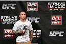 NOTTINGHAM, ENGLAND - SEPTEMBER 28:  Ross Pearson interacts with fans during a Q&A session before the UFC on Fuel TV weigh in at Capital FM Arena on September 28, 2012 in Nottingham, England.  (Photo by Josh Hedges/Zuffa LLC/Zuffa LLC via Getty Images)