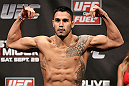 NOTTINGHAM, ENGLAND - SEPTEMBER 28:  Brad Tavares weighs in during the UFC on Fuel TV weigh in at Capital FM Arena on September 28, 2012 in Nottingham, England.  (Photo by Josh Hedges/Zuffa LLC/Zuffa LLC via Getty Images)