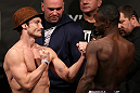 NOTTINGHAM, ENGLAND - SEPTEMBER 28:  (L-R) Opponents Brad Pickett and Yves Jabouin face off during the UFC on Fuel TV weigh in at Capital FM Arena on September 28, 2012 in Nottingham, England.  (Photo by Josh Hedges/Zuffa LLC/Zuffa LLC via Getty Images)
