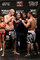 NOTTINGHAM, ENGLAND - SEPTEMBER 28:  (L-R) Opponents Stefan Struve and Stipe Miocic face off during the UFC on Fuel TV weigh in at Capital FM Arena on September 28, 2012 in Nottingham, England.  (Photo by Josh Hedges/Zuffa LLC/Zuffa LLC via Getty Images)