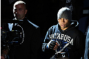 NOTTINGHAM, ENGLAND - SEPTEMBER 29:  Robbie Peralta enters the arena before his featherweight fight against Jason Young at the UFC on Fuel TV event at Capital FM Arena on September 29, 2012 in Nottingham, England.  (Photo by Josh Hedges/Zuffa LLC/Zuffa LLC via Getty Images)