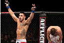 NOTTINGHAM, ENGLAND - SEPTEMBER 29:  Brad Tavares (L) and Tom Watson react after their three-round battle at the UFC on Fuel TV event at Capital FM Arena on September 29, 2012 in Nottingham, England.  (Photo by Josh Hedges/Zuffa LLC/Zuffa LLC via Getty Images)